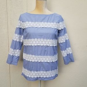 Banana republic blue and white embroidered top